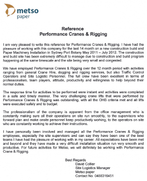 Metso Paper Testimonial for Performance Cranes & Rigging